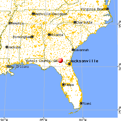 Echols County, GA map from a distance