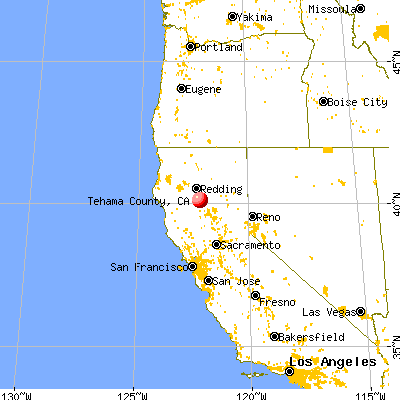 Tehama County, CA map from a distance