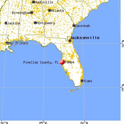 Pinellas County, FL map from a distance