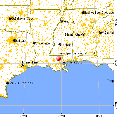 Tangipahoa Parish, LA map from a distance