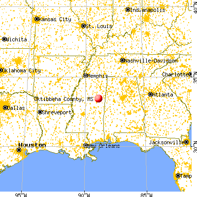 Oktibbeha County, MS map from a distance