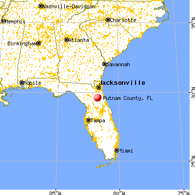 Putnam County, FL map from a distance