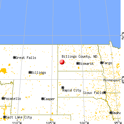 Billings County, ND map from a distance