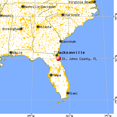 St. Johns County, FL map from a distance