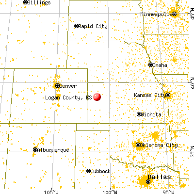 Logan County, KS map from a distance