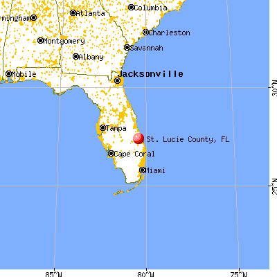 St. Lucie County, FL map from a distance