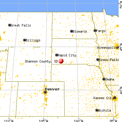 Shannon County, SD map from a distance