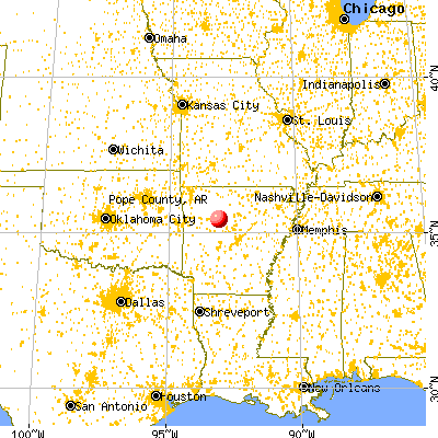 Pope County, AR map from a distance