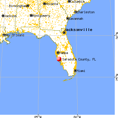 Sarasota County, FL map from a distance