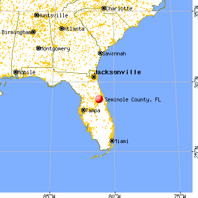 Seminole County, FL map from a distance