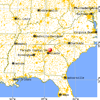 Forsyth County, GA map from a distance