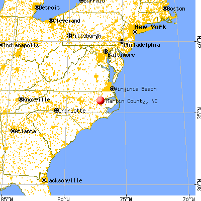 Martin County, NC map from a distance