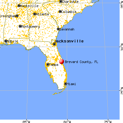 Brevard County, FL map from a distance