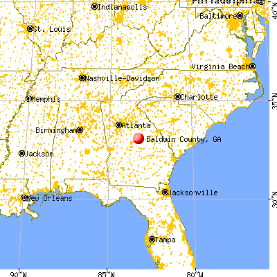 Baldwin County, GA map from a distance