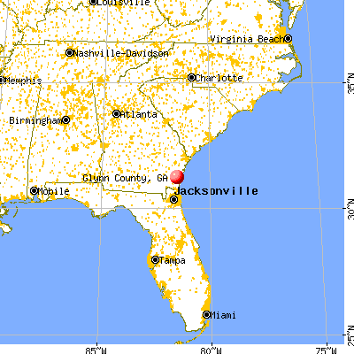 Glynn County, GA map from a distance