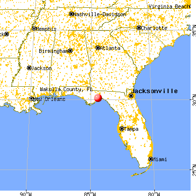 Wakulla County, FL map from a distance