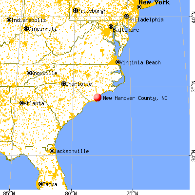 New Hanover County, NC map from a distance
