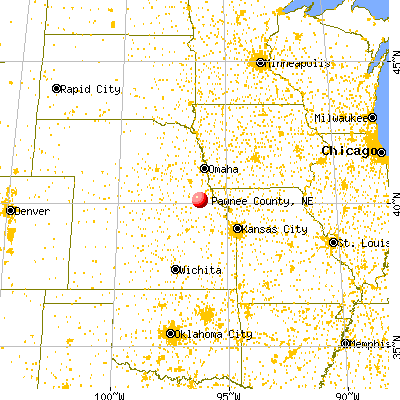 Pawnee County, NE map from a distance