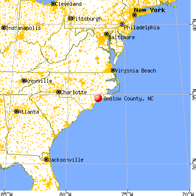 Onslow County, NC map from a distance