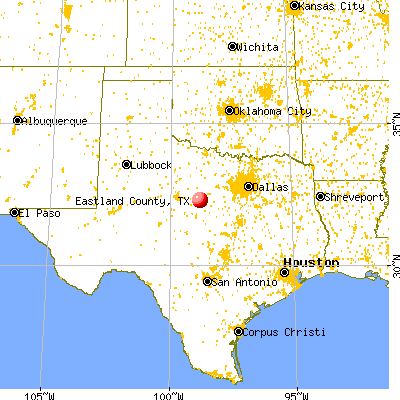 Eastland County, TX map from a distance