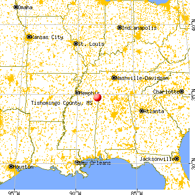 Tishomingo County, MS map from a distance