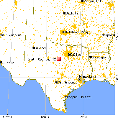 Erath County, TX map from a distance