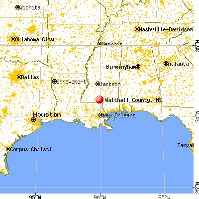 Walthall County, MS map from a distance