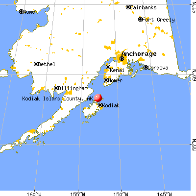 Kodiak Island Borough, AK map from a distance
