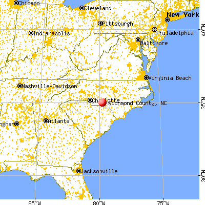 Richmond County, NC map from a distance