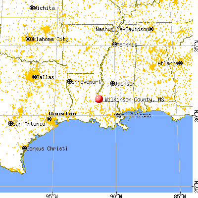 Wilkinson County, MS map from a distance