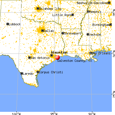 Galveston County, TX map from a distance