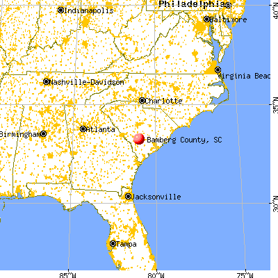 Bamberg County, SC map from a distance