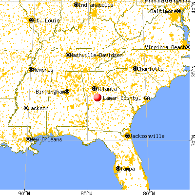 Lamar County, GA map from a distance