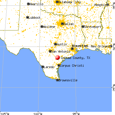 Goliad County, TX map from a distance
