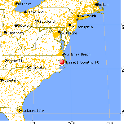 Tyrrell County, NC map from a distance
