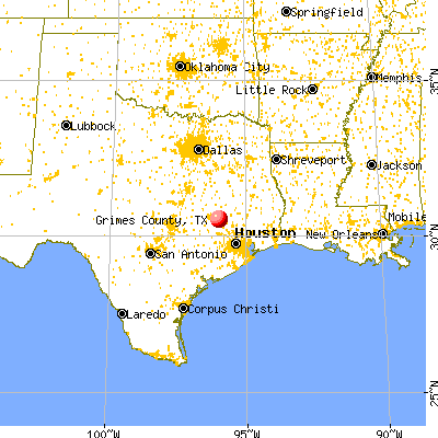 Grimes County, TX map from a distance