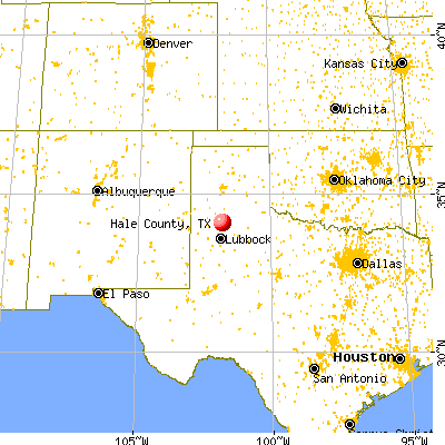 Hale County, TX map from a distance