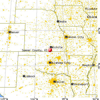 Sumner County, KS map from a distance