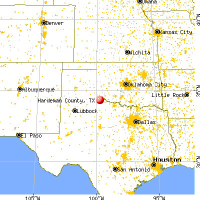 Hardeman County, TX map from a distance