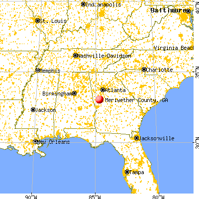 Meriwether County, GA map from a distance