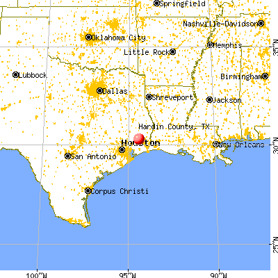 Hardin County, TX map from a distance