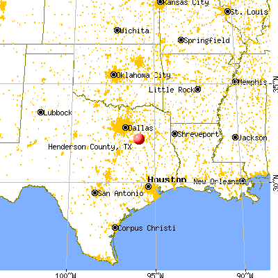 Henderson County, TX map from a distance