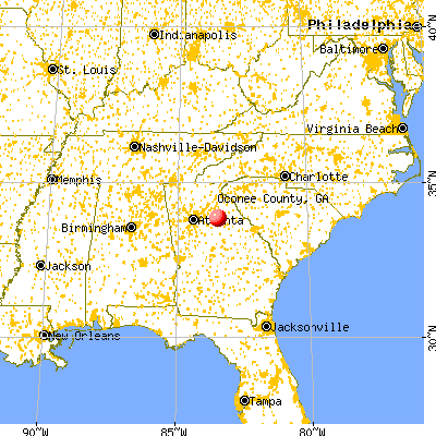 Oconee County, GA map from a distance