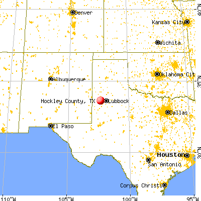 Hockley County, TX map from a distance