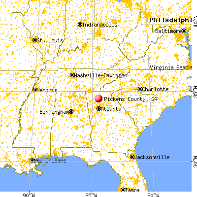 Pickens County, GA map from a distance