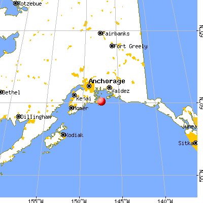 Valdez-Cordova Census Area, AK map from a distance