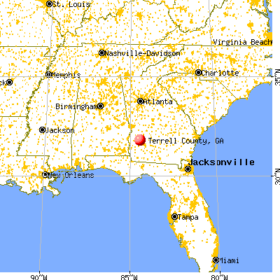 Terrell County, GA map from a distance