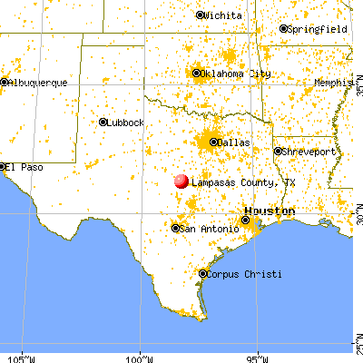 Lampasas County, TX map from a distance