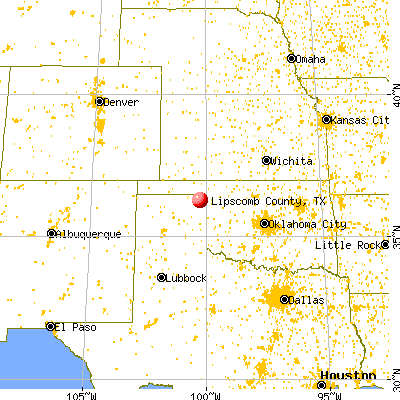 Lipscomb County, TX map from a distance
