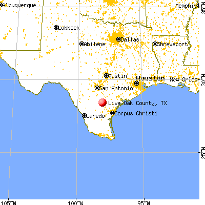 Live Oak County, TX map from a distance